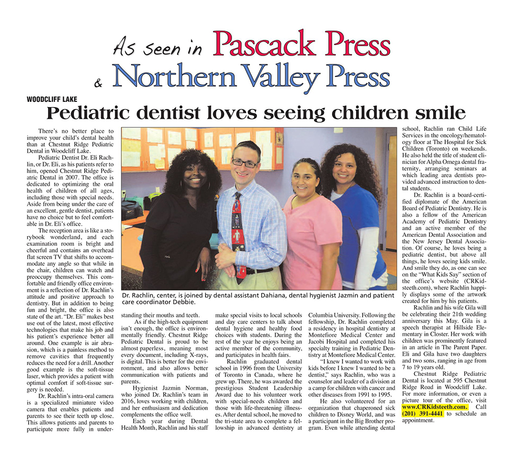 Dr. Rachlin in the Pascack Press